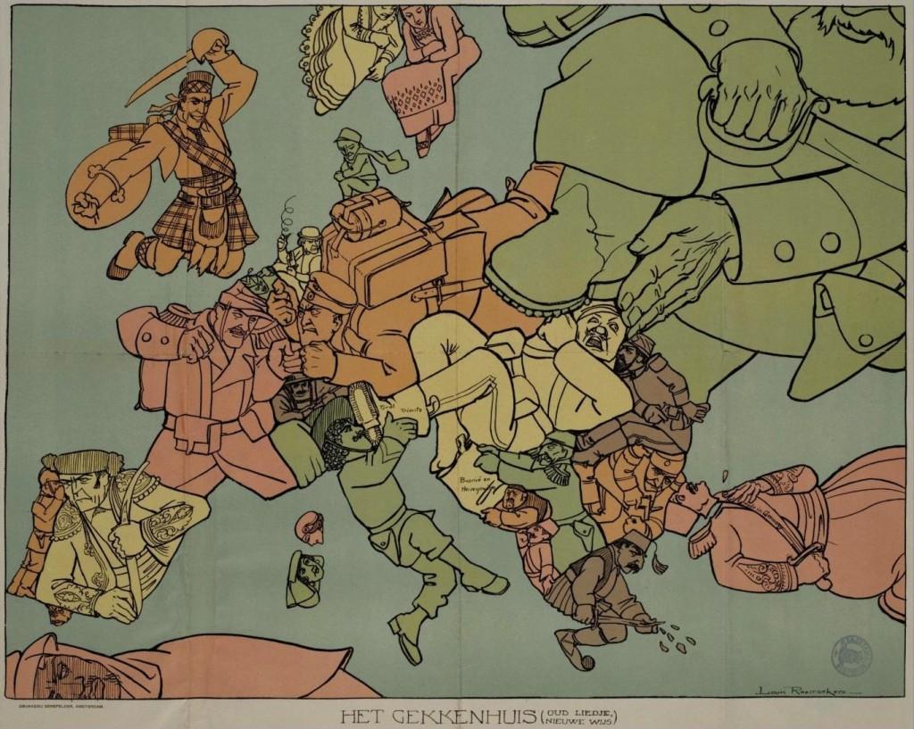 D'après Louis Raemaekers, Het Gekkenhuis (Oud Liedje, Nieuwe Wijs), Amsterdam, Senefelder, 1915
