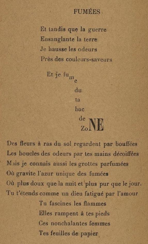 Guillaume Apollinaire, «Fumées», in Calligrammes. Poèmes de la paix et de la guerre (1913-1916), Paris, Mercure de France, 1918, collection Bibliothèque nationale de France, Paris