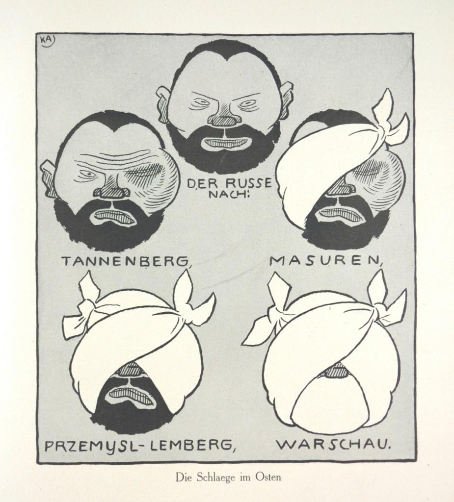Karl Arnold, «Die Schläge im Osten», in Arnolds Kriegsflugblätter der Liller Kriegszeitung, éditions Liller Kriegszeitung, Lille, 1915 — © Adagp, Paris 2013
