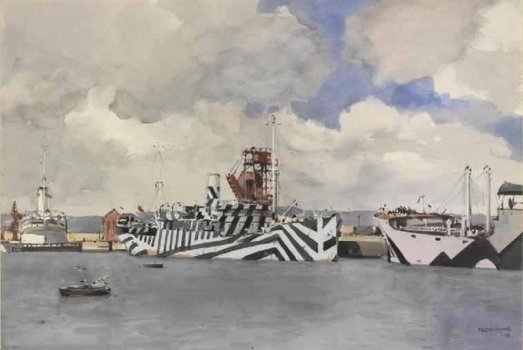 Cecil King, Dazzled Ships At Leith, aquarelle sur papier, 1918, Imperial War Museum, Londres
