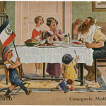 Auf Urlaub: Gesegnete Mahlzeit (En permission: bon appétit), Arthur Thiele (1860-1936), carte postale illustrée, éditeur Gebrüder Dietrich, Leipzig, 1915-1918, 14 x 9 cm, collection Loïc Beck