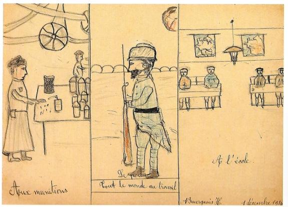 H. Bourgeois, Tout le monde au travail, 1er décembre 1916 Musée de Montmartre.