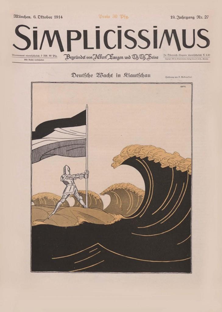 Olaf Gulbransson Deutsche Wacht in Kiautschau Lithographie en couleurs pour Simplicissimus, n°27, 6 octobre 1914.