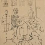 George Grosz, Die Gesundbeter (Les guérisseurs) dessin publié dans Die Pleite, n°3, avril 1919 © The estate of George Grosz, Princeton, N.J. / ADAGP, Paris