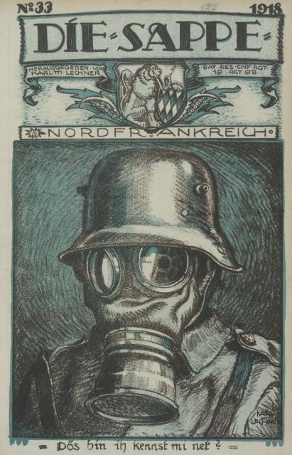 Karl Lechner, dessin de couverture pour Die Sappe, n°33, 1918, Bibliothèque Nationale et Universitaire, Strasbourg.