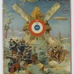 Tir Eureka. L'attaque du moulin Carton publicitaire en cible de jeu de tir, années 1910