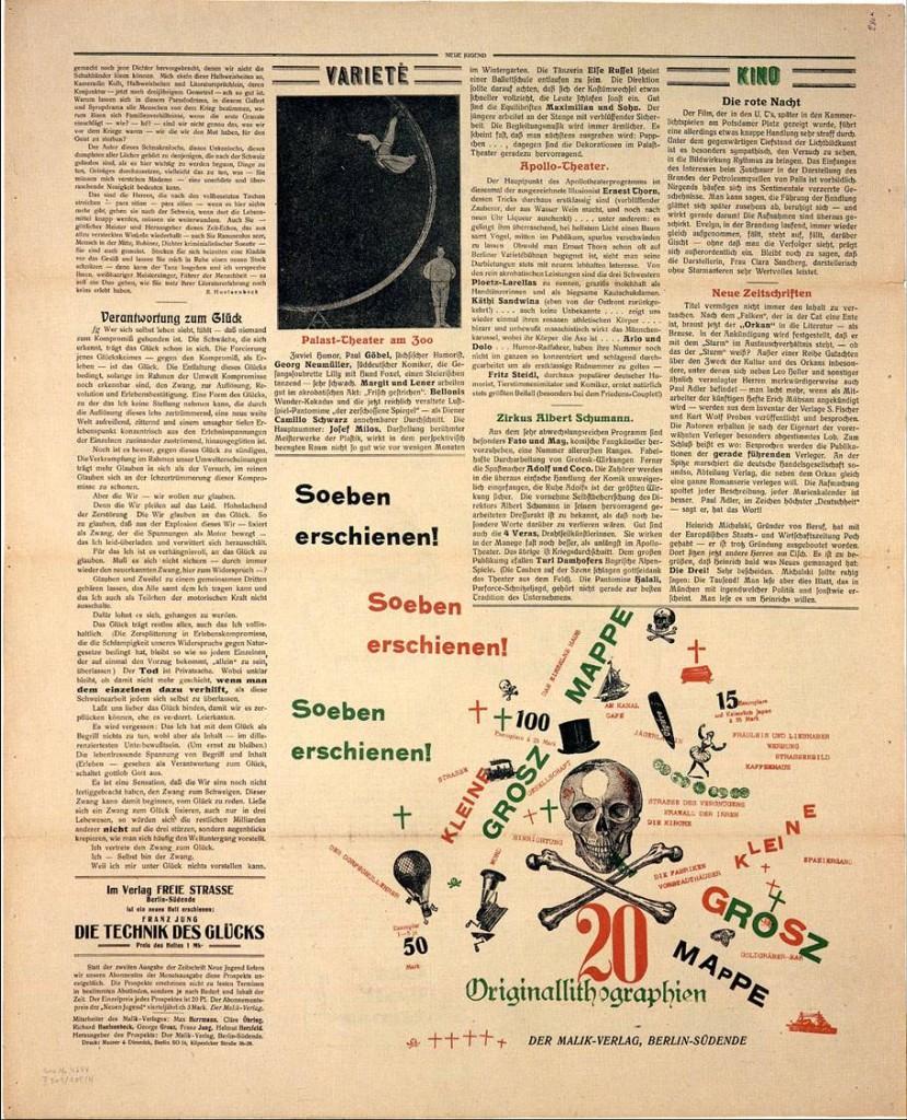 John Heartfield, montage pour Kleine Grosz Mappe, in Neue Jugend, Berlin, juin 1917, Collection Akademie der Künste, Berlin © The Heartfield Community of Heirs / ADAGP, Paris, 2013