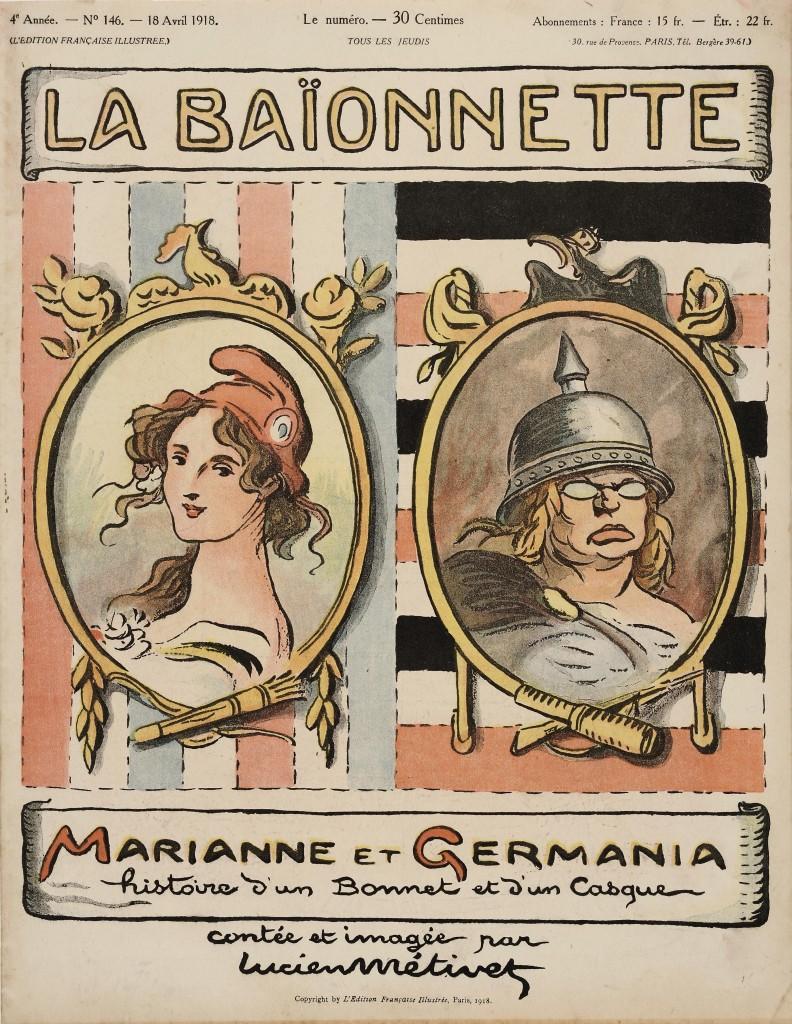 Lucien Métivet, Marianne et Germania. Histoire d'un bonnet et d'un casque, couverture de La Baïonnette, n°146, 18 avril 1918, collection particulière