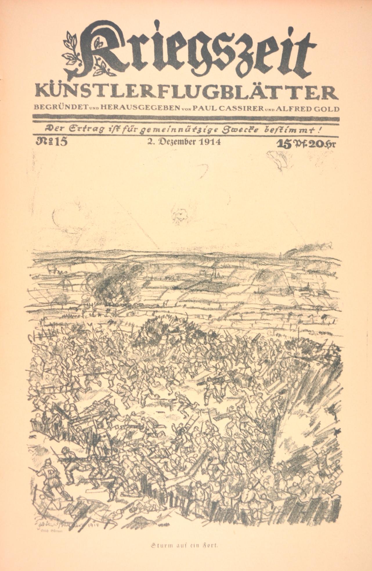 Erich Büttner Sturm auf ein Fort Lithographie pour Kriegszeit, Künstlerflugblätter, n°15, 2 décembre 1914