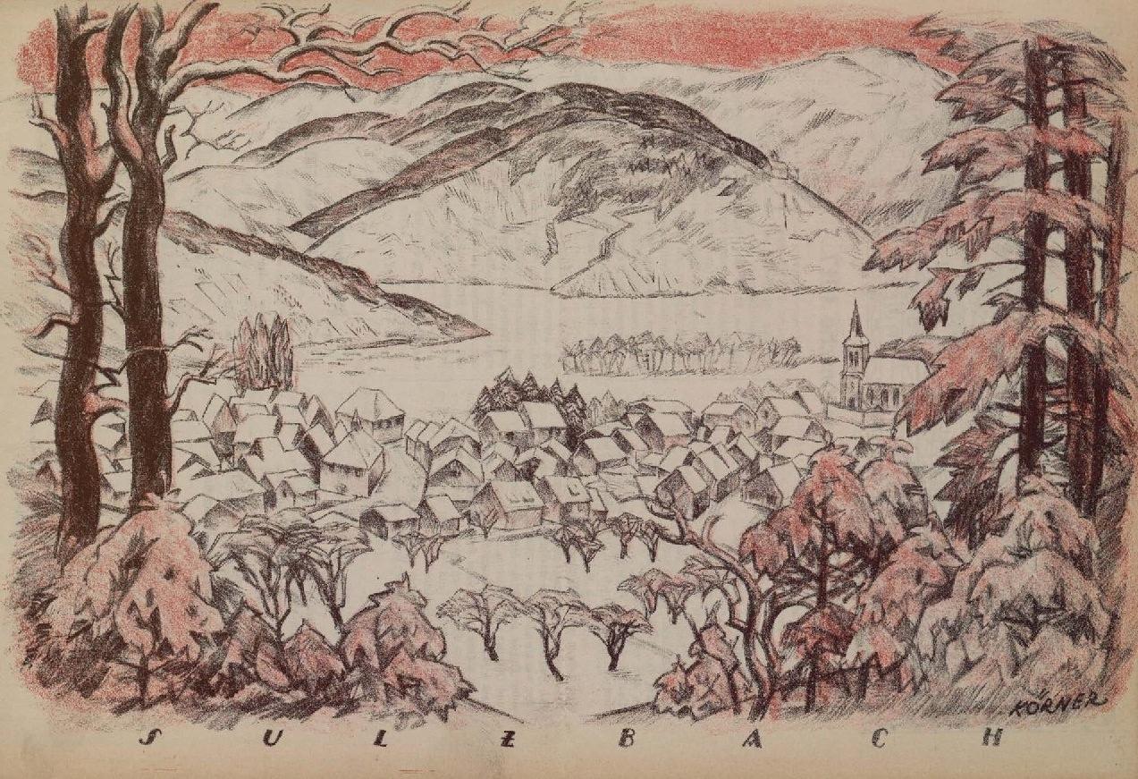 Max Körner, Sulzbach, 1917 lithographie publiée dans Vogesenwacht, n° 1, 1er janvier 1917